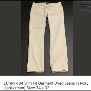 Men's J. Crew 484 Slim Garment Dyed Jeans in ivory